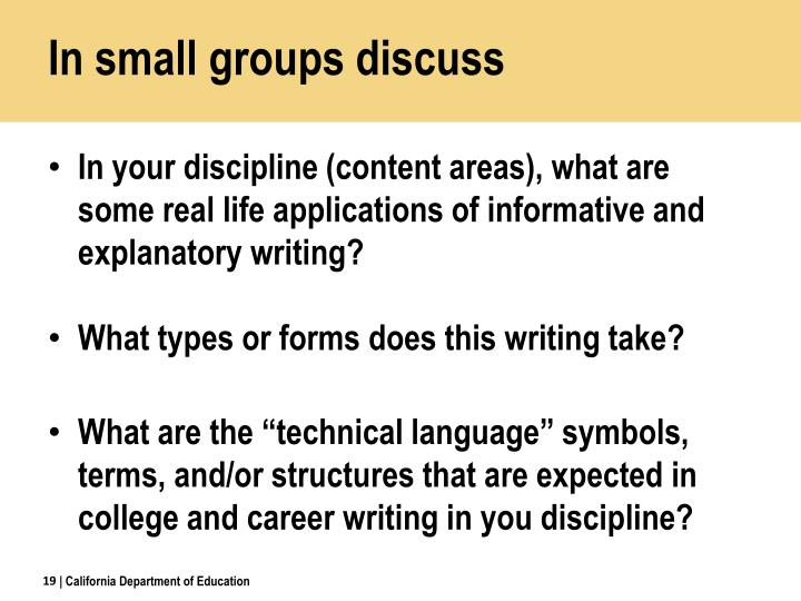 In small groups discuss