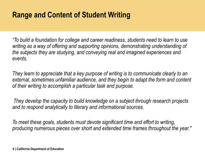 Range and Content of Student Writing