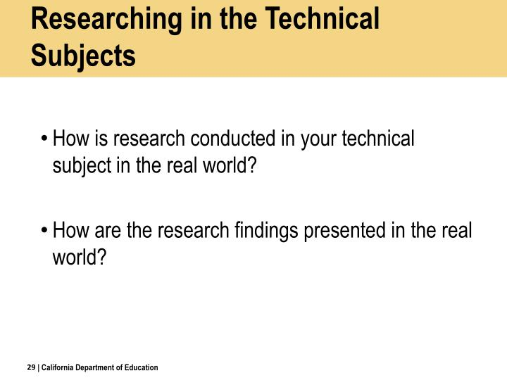 Researching in the Technical Subjects