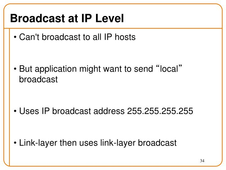 Broadcast at IP Level