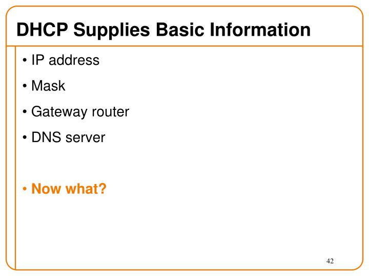 DHCP Supplies Basic Information