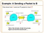 example a sending a packet to b