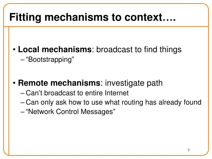 Fitting mechanisms to context….