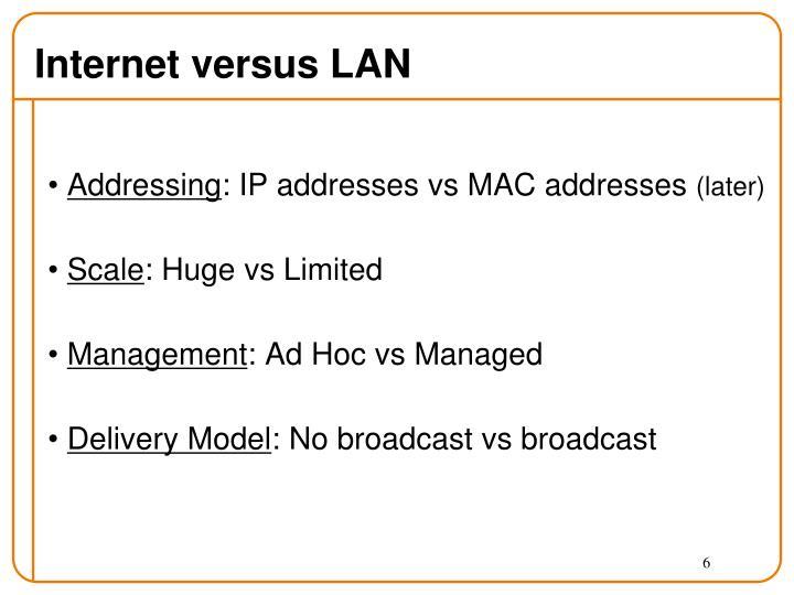 Internet versus LAN