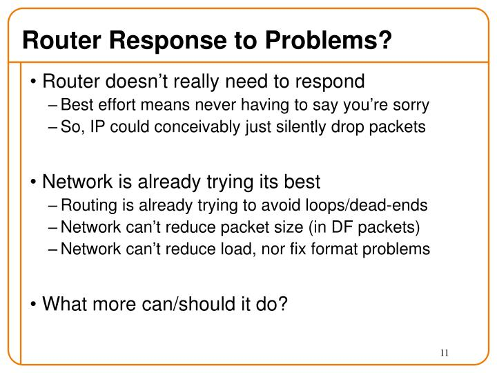 Router Response to Problems?