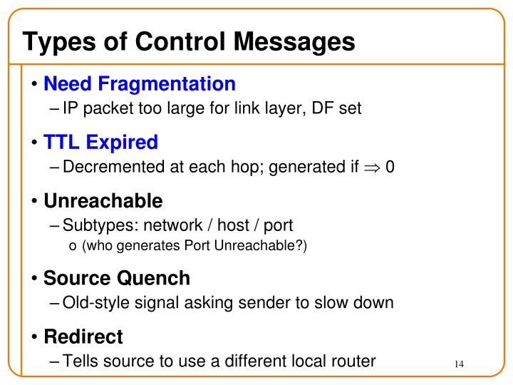 Types of Control Messages