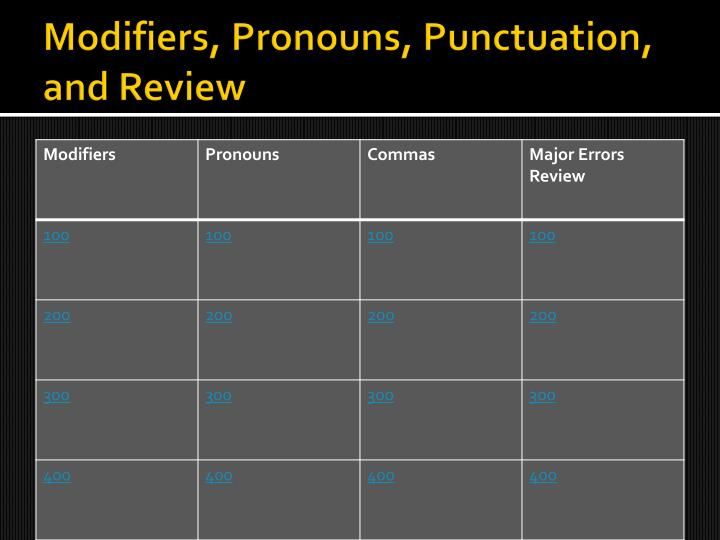 modifiers pronouns punctuation and review