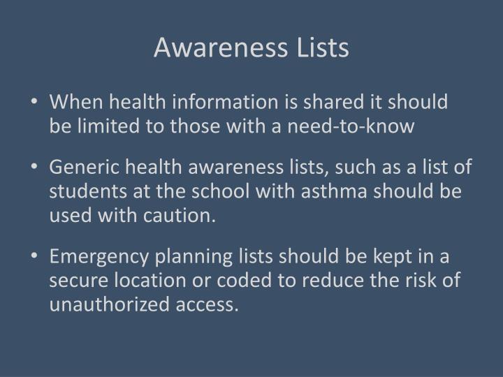 Awareness Lists