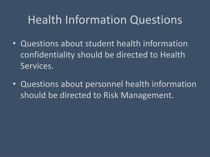 Health Information Questions