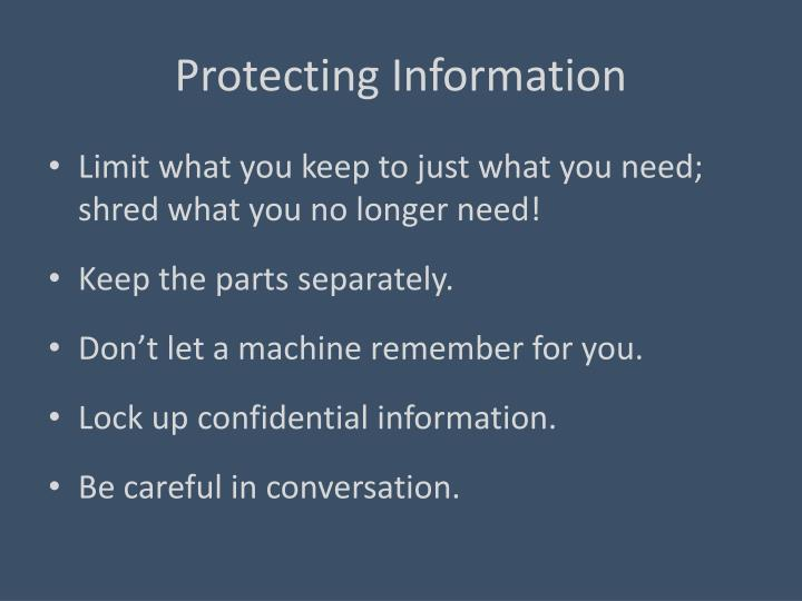 Protecting Information