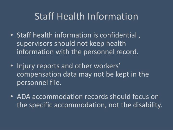 Staff Health Information