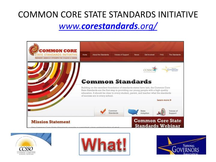 Common core state standards initiative www corestandards org