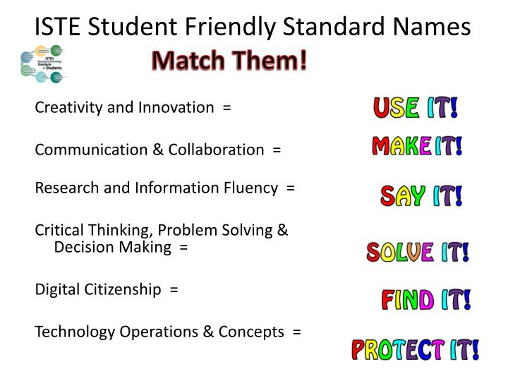 ISTE Student Friendly Standard Names