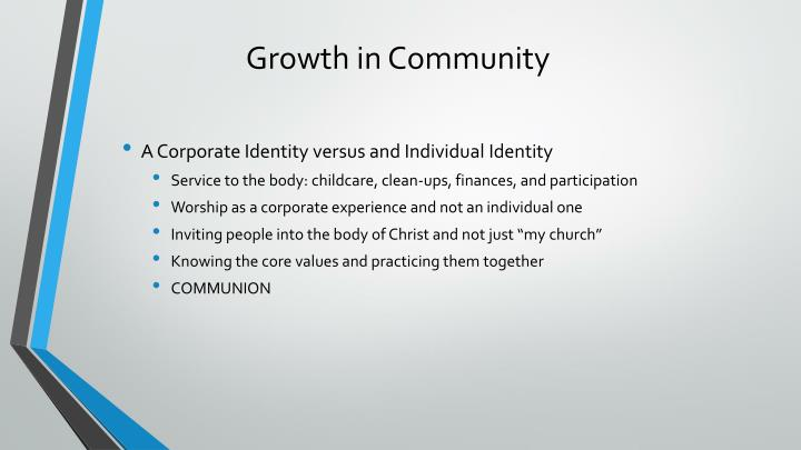 Growth in Community