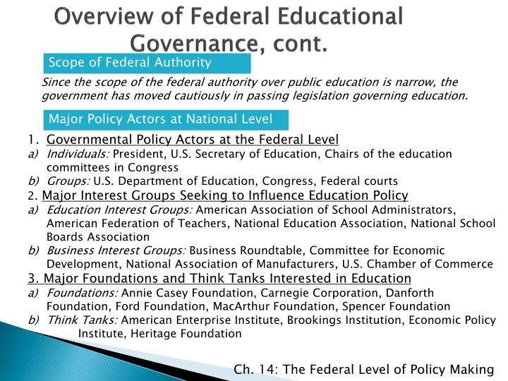 Overview of Federal Educational Governance, cont.