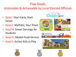 five goals actionable achievable by local elected officials