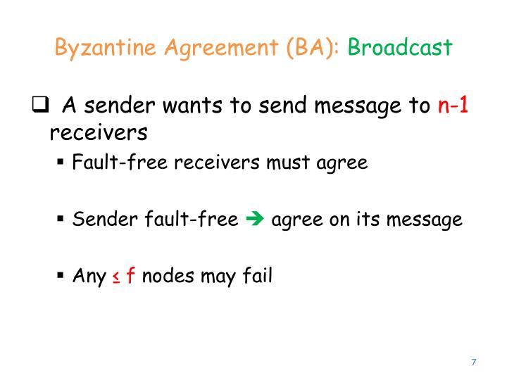 Byzantine Agreement (BA):