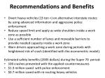 recommendations and benefits