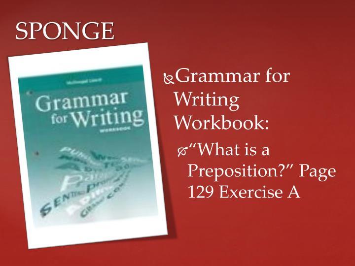 Grammar for Writing Workbook: