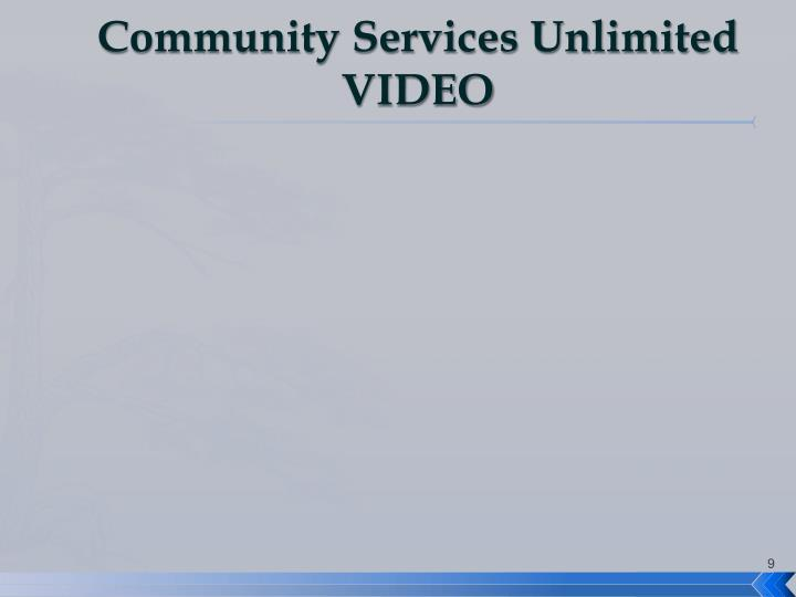 Community Services Unlimited VIDEO
