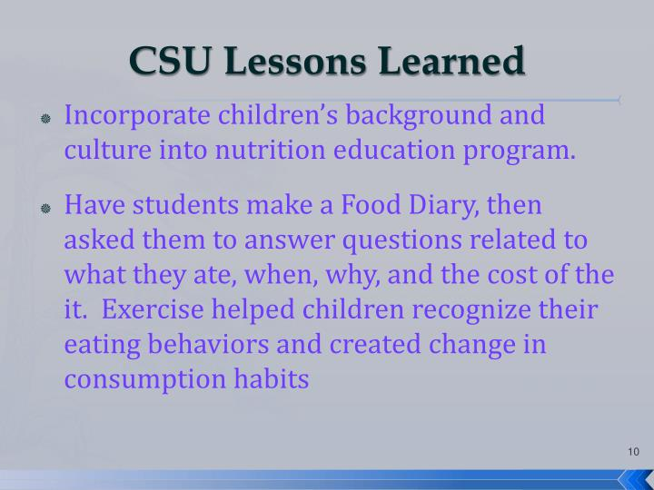 CSU Lessons Learned