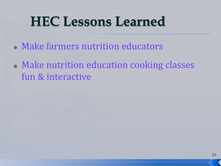 HEC Lessons Learned