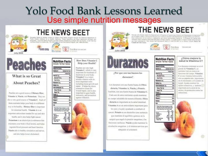 Yolo Food Bank Lessons Learned