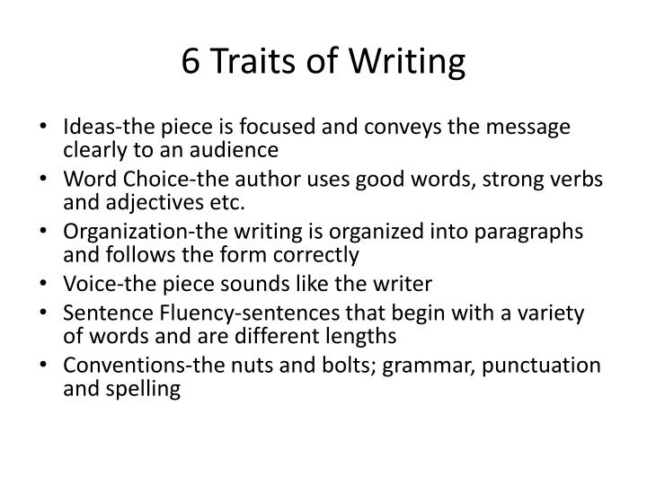 6 traits of writing powerpoint