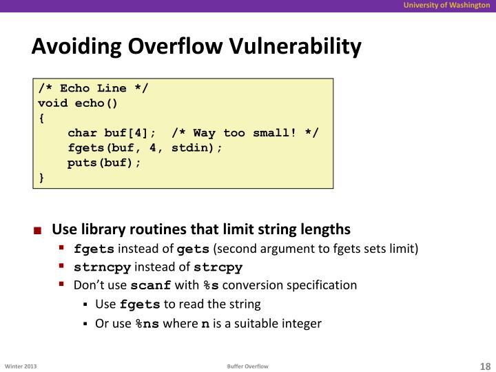 Avoiding Overflow Vulnerability