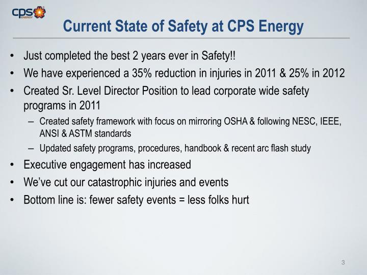Current state of safety at cps energy