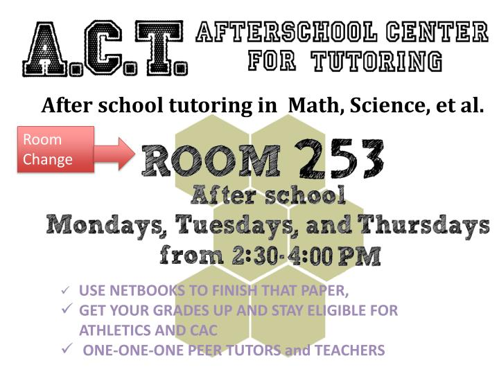 After school tutoring in