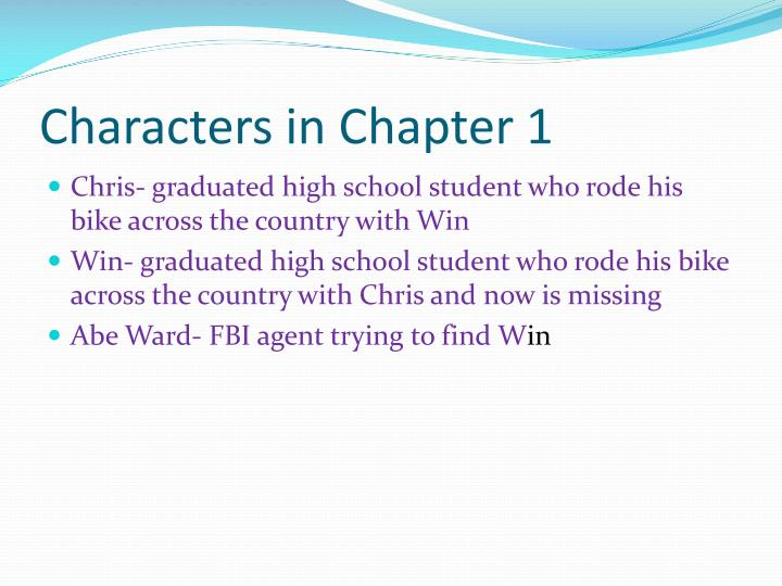 Characters in Chapter 1