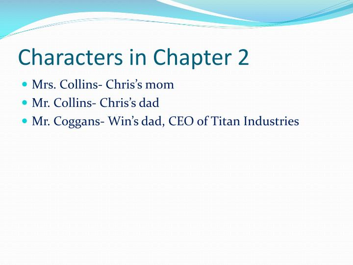 Characters in Chapter 2