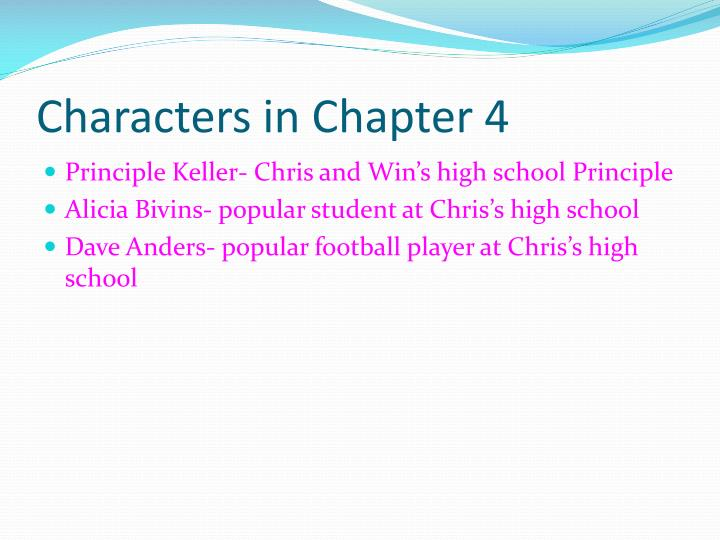 Characters in Chapter 4