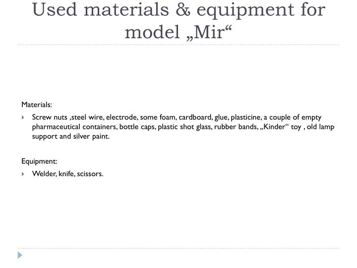 Used materials &