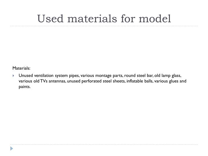 Used materials for model