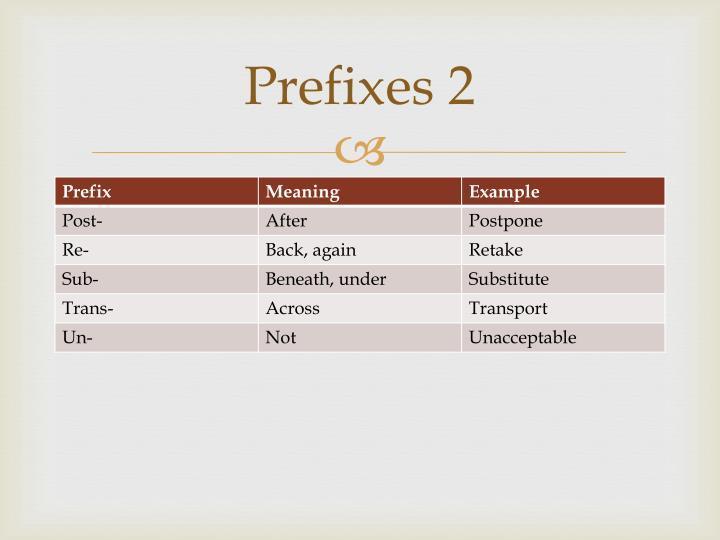 Prefixes 2