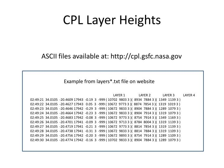 CPL Layer Heights