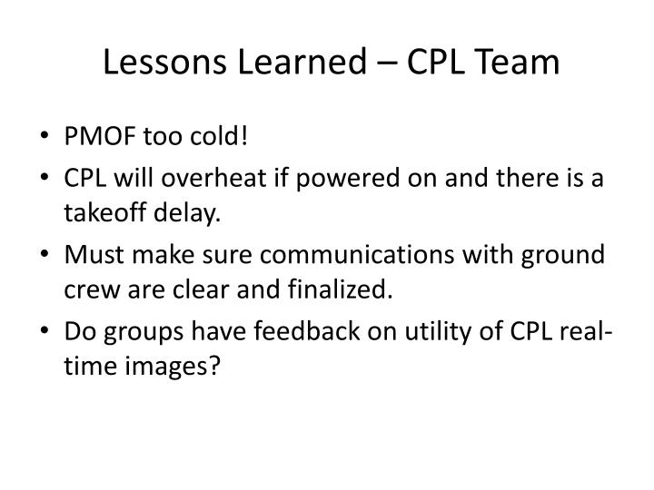 Lessons Learned – CPL Team