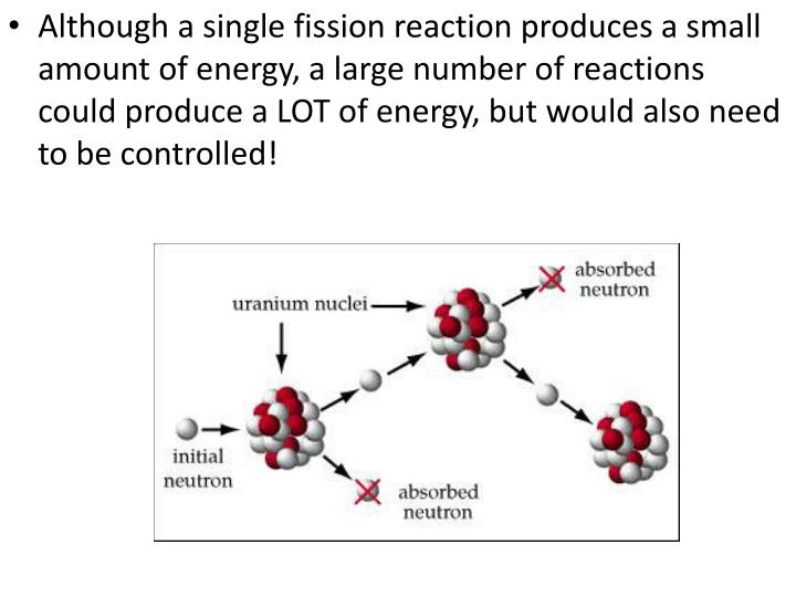 Although a single fission reaction produces a small amount of energy, a large number of reactions could produce a LOT of energy, but would also need to be controlled!
