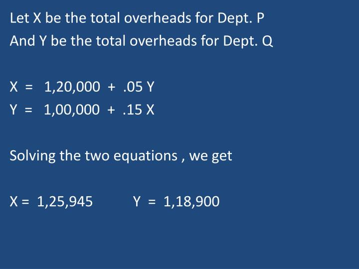 Let X be the total overheads for Dept. P