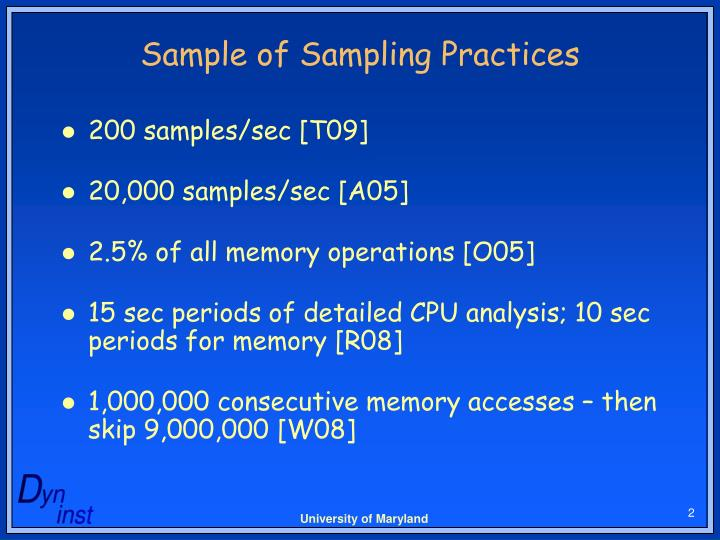 Sample of sampling practices