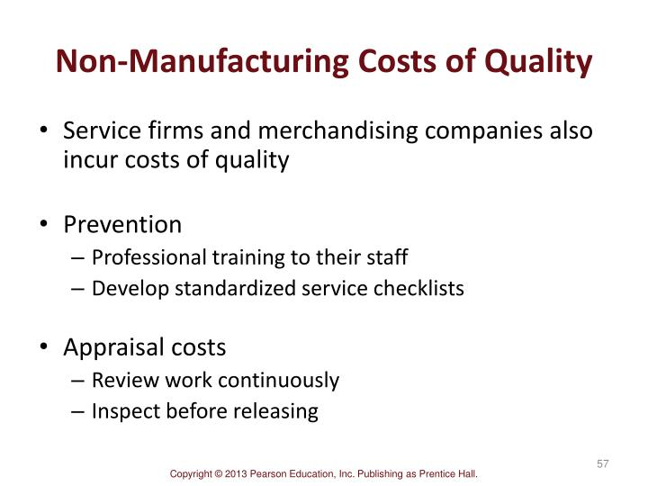 Non-Manufacturing Costs of Quality