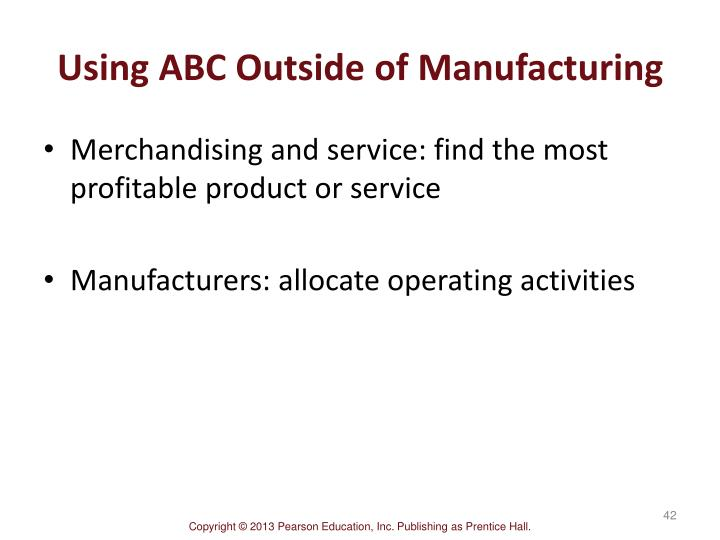 Using ABC Outside of Manufacturing