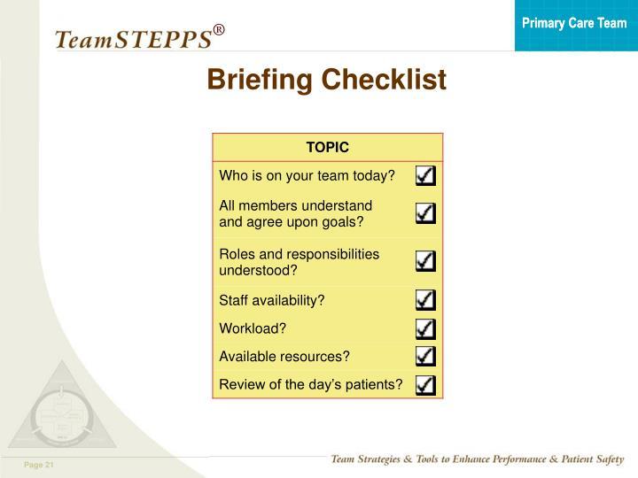 Briefing Checklist