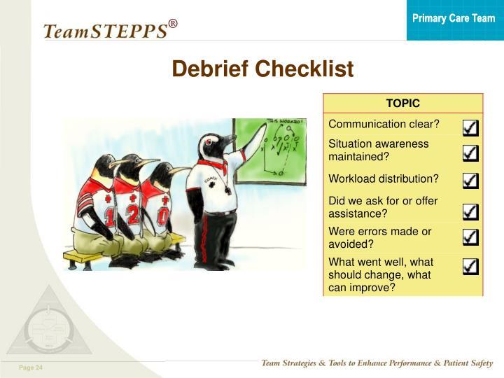 Debrief Checklist