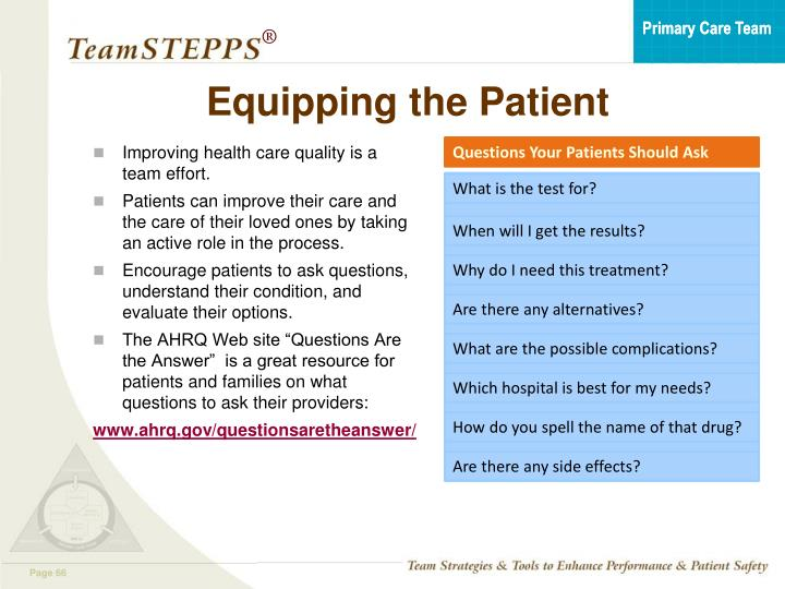 Equipping the Patient