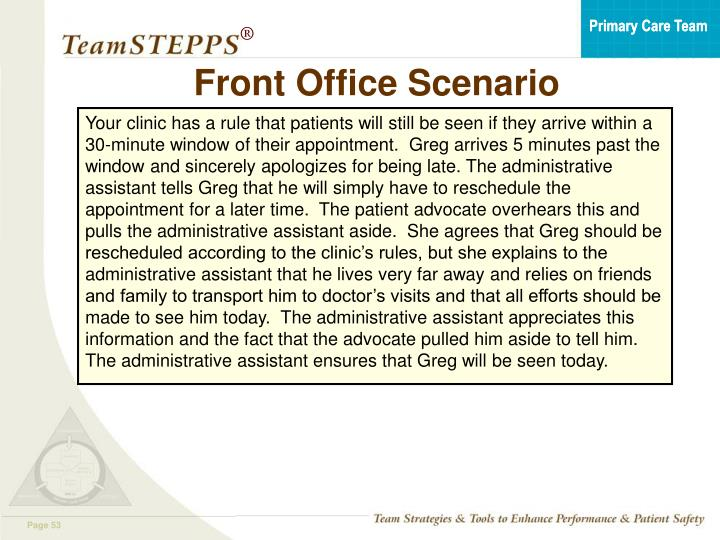Front Office Scenario
